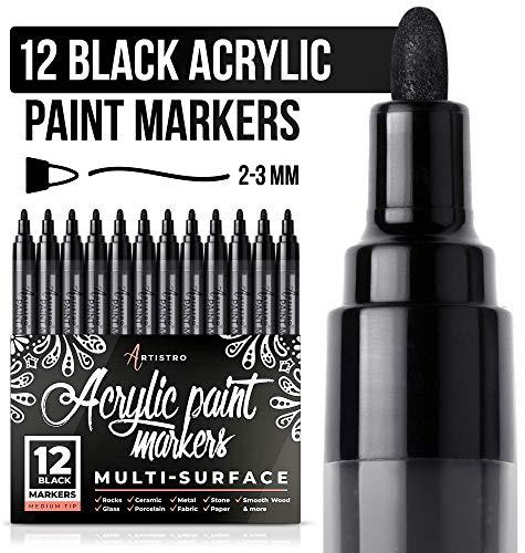 Pennarello nero per legno, vetro, tela, rocce, tessuto. Set di penne acriliche nere con punta media, 12 pennarelli