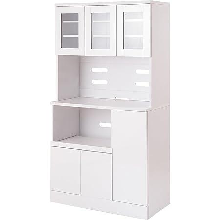 キッチンシリーズ Face カップボード 幅90cm ホワイト 食器棚/レンジ台 FY-0004