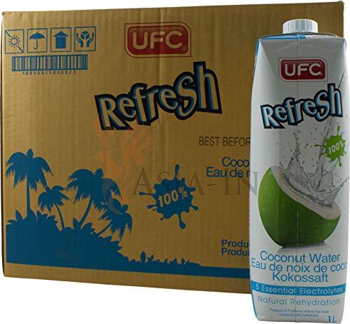 UFC Reines Kokoswasser 100{3024bef4a71d12c498340ec8fac7fc093a4a9ad6b2b55b36f529c953fbbf06ee} Pure Kokosnusswasser Thailand 1 Liter Coconut Water 24er Pack