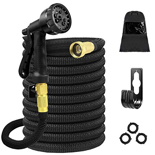Tigerhu Expandable Garden Hose, 25ft Flexible Lightweight Water Hose with 8-Mode Spray Nozzle, Triple Layer Latex Core, 3/4 Solid Brass Fittings, Nylon-Elastic Shell with Storage Bag, Black