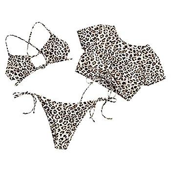 ZAFUL Women s Tie Dye Cinched String Triangle Bikini Set Three Piece Swimsuit  3 Piece-Leopard S