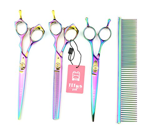 "LILYS PET HIGH-END SERIES Japan 440C Pet Grooming Scissors Set,Rainbow Color,Cutting&Thinning&Two-way Curved shears Set (7.0"")"