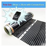 赤外線加熱フィルム220V電気暖かい床システム50cm幅220W / M2加熱フォイルマット (Color : 50cmX25cm Trial Set, Width(cm) : 50 cm)