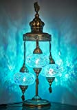 (16 Colors) Demmex 2020 - 3 Big Globes Magnificent Handmade Turkish Moroccan Mosaic Tiffany Table Desk Bedside Lamp Lampshade Night Accent Mood Light for North American Use, 31' Height (Light Blue)