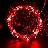 CML Guirnalda de luces LED de 2 m, 5 m, 10 m, funciona con pilas, color plateado, guirnalda de hadas de seda (color emisor: rojo, potencia: 10 m, 100 leds)