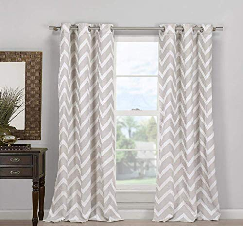 Duck River Textiles - Home Fashion Chevron Linen Blend Grommet Top Window Curtains for Living Room & Bedroom - Assorted Colors - Set of 2 Panels (40 X 84 Inch - Taupe)