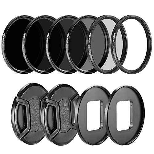 Neewer 10090451 Kamera Objektiv Filter Kit für GoPro Hero 5/ 6: (4) Neutral Density ND Filter (ND4/ND8/ND16/ND32), (1) UV-Filter, (1) CPL Filter, (2), (2) Objektivdeckel Adapter Ring