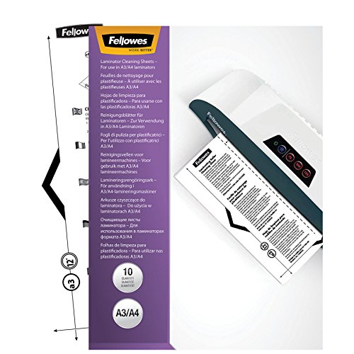Fellowes Laminator Cleaning Sheets, 10 per Pack (5320603), White