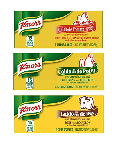 Knorr Bouillon Cubes 8 Count Box Variety Pack - Chicken, Beef and Tomato Chicken Flavor Bouillon (3 Pack)