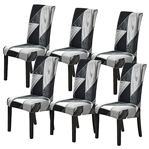 Ryoizen Stuhlbezug mit Rückenlehne, 6 Stück, elastisch, modern, waschbar, für Küche, Zuhause, Restaurant, Schwarz, 6 Stück