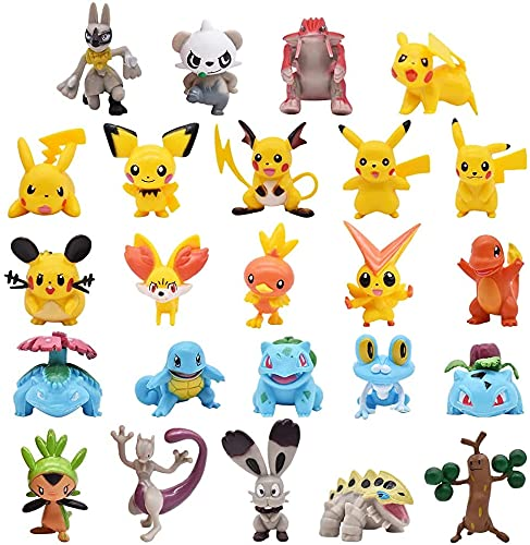 24 piezas Pikachu Pokémon Pikachu - Figura de juguete y tarta de ducha para fiestas de cumpleaños, pikachu