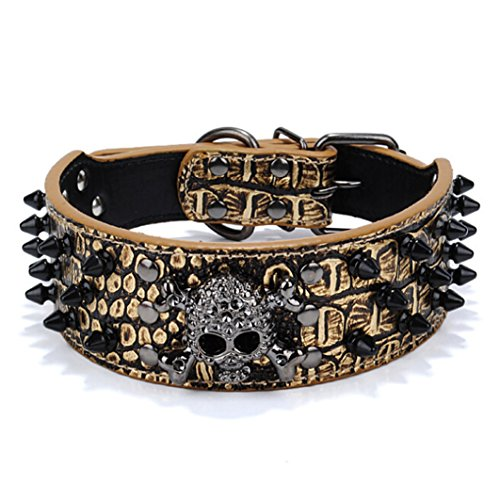 Muodu Hundehalsband, Totenkopf, verstellbar, mit Nieten, Krokodilleder, Krokodilleder-Optik