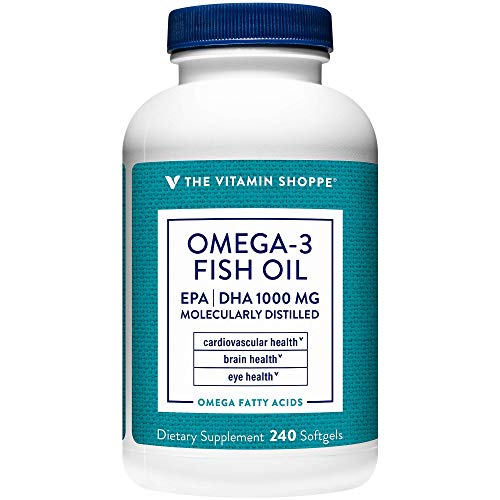 Omega 3 Fish Oil 1000MG, EPA 300mg DHA 200mg, Purity Assured, Molecularly Distilled to Support Cardiovascular, Joint and Brain Health (240 Softgels) by The Vitamin Shoppe