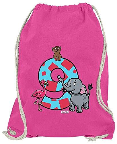 HARIZ Turnbeutel Tiere Afrika 9 Geburtstag Geschenkidee Plus Geschenkkarte Pink One Size