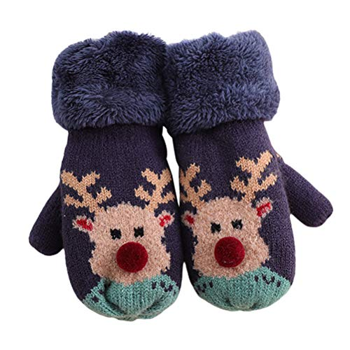 LUOZZY Christmas Knitted Gloves Hanging Neck Mitten Warm Gloves Kids Gloves (Green)
