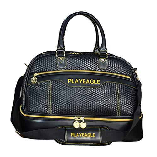Colcolo Black Sports Bag Leather Golf Hand Luggage Travel Bag Luggage Weekender