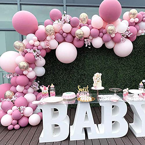 Pink Balloon Garland Kit 96 Pcs, DIY Pink Rose Red Golden Balloon Garland Arch Kit, for Baby Shower Wedding Birthday Party Bridal Shower Decorations