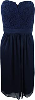 Adrianna Papell Women's Strapless Lace Dress (12, Midnight)