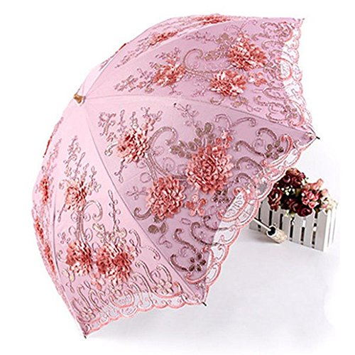livecity Retro Lace Blumen Decor Regenschirm Sommer Anti UV-Sonnenschutz Regenschirm für Damen, Mädchen, rose, Large