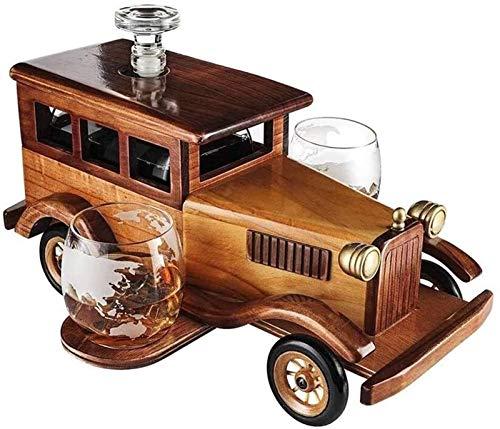 -Chisky Decanter Fashioned Car Fashioned Car Decanter Set, con 2-10oz Whisky Whisky Vasos Vidrios de Moda, Antiguo