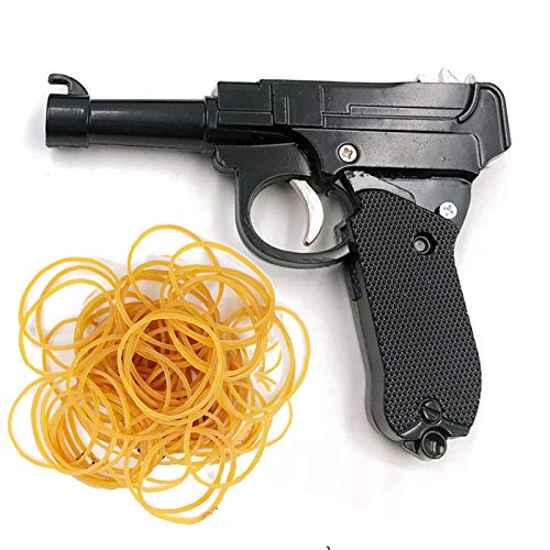 Alloy Foldable Rubber Band Toys Gun 6 Even Launch Action Figure 100 Rubber Bands Per Set Black