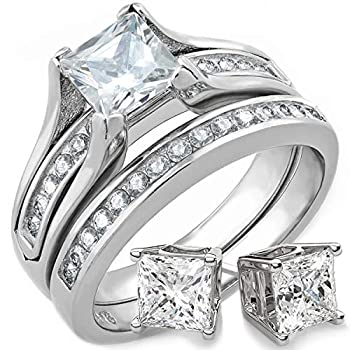 Bellux Style Wedding Rings for Women Stainless Steel Bridal Sets Wedding Rings Engagement Wedding Jewelry 1 Carat Princess Cut Cubic Zirconia and Matching Sterling Silver Stud Earrings  Size 7