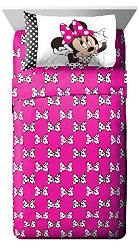 Disney Minnie Mouse Dots Are New Black Microfiber 3 Piece Twin Sheet Set