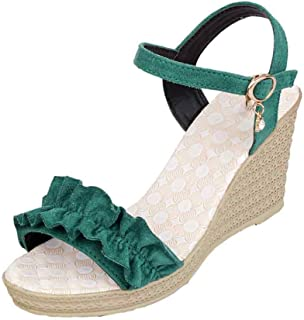 Fulision Women Wedges Sandals Peep Toe Waterproof Platform Muffin Ankle Shoes