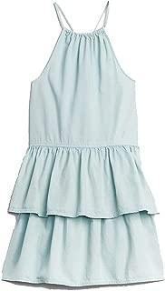GAP Kids Blue Chambray Denim Halter Tier Dress XS 4 5