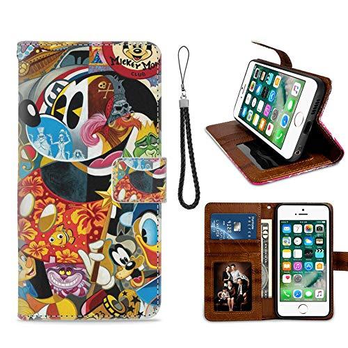 DISNEY COLLECTION Funda tipo cartera para iPhone 7/8/SE2 con diseño de Mickey Mouse de Disney, con cierre magnético, función atril, resistente