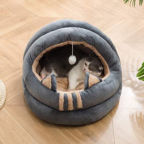 Stafeny Cama para gatos mullida, con agujero para gato, con parte inferior antideslizante, totalmente envuelta, cama para gatos y mascotas lavable