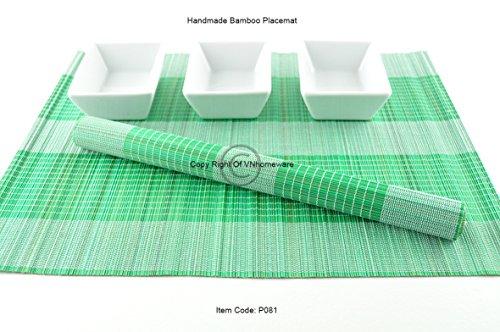 4 faite à la main en bambou Sets de table, sets de table, Lot de 4, White-Green, P081
