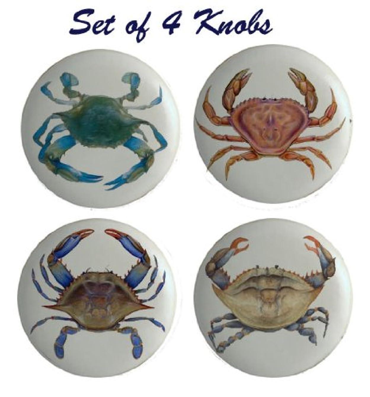 Blue Crab Ceramic Knobs Pulls Kitchen Drawer Cabinet Vanity Closet 274