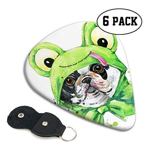 Rterss Celluloid Gitaar Picks Sampler Pick Inclusief Dunne Medium Zware Gauges 6 Pack Hond Het dragen van Groene Kikker Kostuum Aangepast