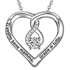 Idea Regalo - LOVORDS Collana Donna Incisa Argento Sterling 925 Pendente Ciondolo Cuore Infinito Regalo Mamma Madre