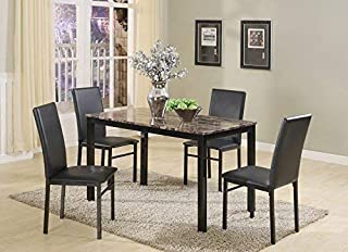 Roundhill Furniture 5 Piece Citico Metal Dinette Set with...