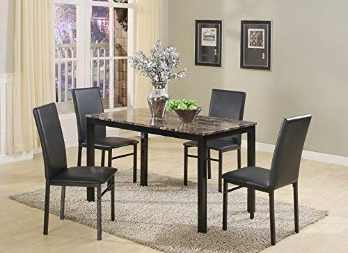 Roundhill Furniture 5 Piece Citico Metal Dinette Set with Laminated Faux Marble Top, Black