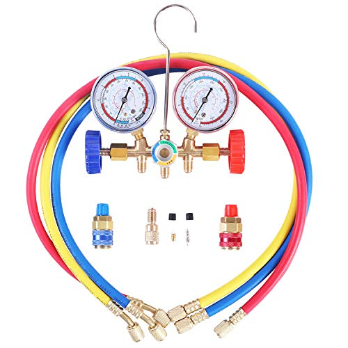 JIFETOR 3 Way AC Manifold Gauge Set, HVAC Diagnostic Freon Charging Tool for Auto Household R12 R22 R404A R134A Refrigerant, Quick Couplers Acme Adapter Valve Core Tool (3FT Hose)