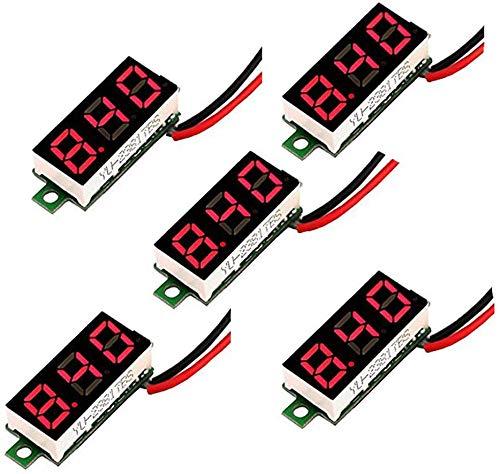 RUNCCI-YUN 5 Stück Mini Digital DC Voltmeter, LED DC Spannungsprüfer 0,28 Zoll Zwei-Draht Spannungsprüfer, DC 2,5V-30V LED Spannungsanzeige Panelmeter(Rot 5 Stück)