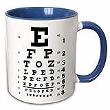 3dRose Eye Chart Alphabet In Black Two Tone Mug, 11 oz, Blue/White...