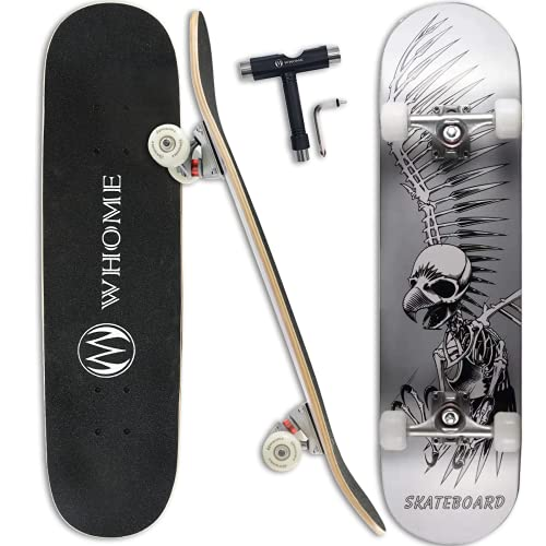 """WHOME Pro Skateboard Complete for Adult Youth Kid and Beginner - 31"""" Double Kick Concave Street Skateboard 8 Layer Alpine Hard Rock Maple Deck ABEC-9 Bearings Includes T-Tool"""