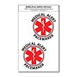 COOLHUBCAPS Medical Alert Pacemaker Reflective Decals (2 Pack, Small)