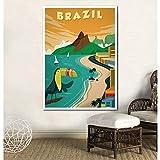 UDIYXC Affiche de Voyage Vintage Brésil Affiche Toile Impression Murale Art déco sans Cadre, 40x50cm