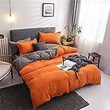 Chanyuan Biancheria da letto 200 x 220 cm, 3 pezzi, arancio, grigio, double-face, 100% morbida e confortevole, in microfibra, copripiumino con chiusura lampo e 2 federe 80 x 80 cm