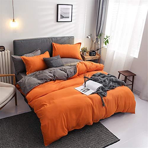 Chanyuan Bettwäsche Set 135x200 cm Orange Grau Beige Unifarben Wendebettwäsche 100% Weiche Angenehme Mikrofaser - 1 Bettbezug 135 x 200 cm + Kissenbezüge 80 x 80 Reißverschluss