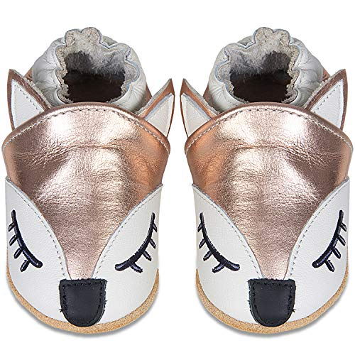 IceUnicorn Weiche Leder Babyschuhe Lauflernschuhe Krabbelschuhe Babyhausschuhe mit Wildledersohlen für Junge Mädchen Kleinkind(N-Gold Fox,18-24)