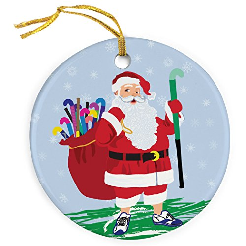 ChalkTalkSPORTS Field Hockey Porcelain Ornament | Field Hockey Santa Christmas Ornament