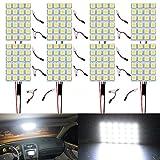 ALOPEE - 8-Pack Blanco 300lums 5050 24-SMD 12V DC Luz LED para Remolque de Automóvil Camper RV Panel de Iluminación Interior Mapa de Cúpula Luces de Techo de Techo con 8 X T10, Adaptador de Festón