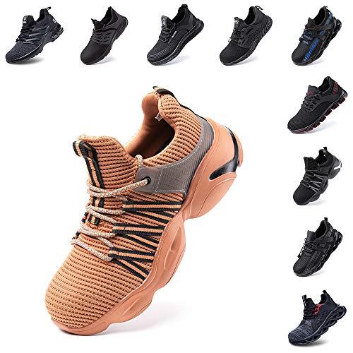 Zapatos de Seguridad Hombre Mujer con Punta de Acero Zapatillas de Trabajo Deportivo Calzado Ligeros Comodo Transpirables Unisex Caqui Talla 42 EU