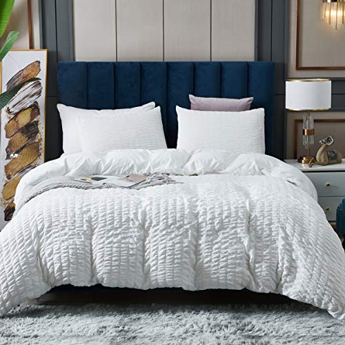 White Seersucker Duvet Cover Queen Size, 100% Soft Washed Microfiber 3 Piece Duvet Cover Set, Textured Bedding Comforter Cover Sets Comfortable with Zipper Closure & Corner Ties, 90x90 inches